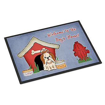 Dog House Collection Shih Tzu Red White Indoor or Outdoor Mat 18x27