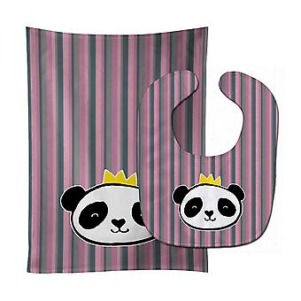 Carolines Treasures  BB7037STBU Panda Bear Queen Baby Bib & Burp Cloth