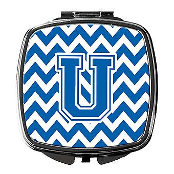 Carolines Treasures  CJ1056-USCM Letter U Chevron Blue and White Compact Mirror
