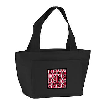 Letter I Football Crimson and White Lunch Bag