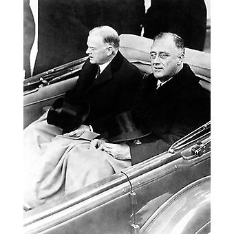 President-Elect Franklin D Roosevelt and President Herbert Hoover on Way to Roosevelts Inauguration March 4 1933 Poster Print by McMahan Photo Archive (8 x 10)
