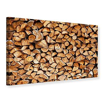 Leinwand drucken gestapelte Holz