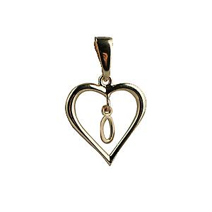 9ct Yellow Gold 18x18mm heart with a hanging Initial O
