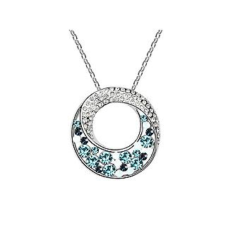 Ornate Crystal from Swarovski Elements Blue Circle Pendant