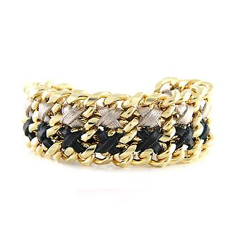 Ettika - Yellow Gold Bracelet and braided ribbons black and silver
