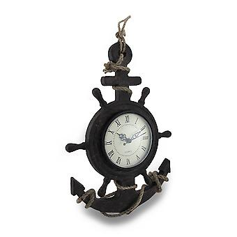 Textured Ship Anchor and Wheel Wall Clock w/Natural Rope Accent
