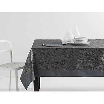 ES-TELA Jacquard Tablecloth with Kashmir Gray Napkins with Apply