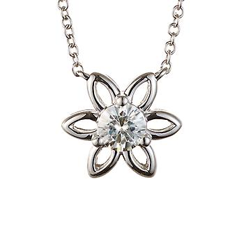 För evigt klassiska runda 4,5 mm Moissanite blomma hänge halsband, 0,33 ct DAGG