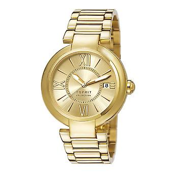 Esprit Damen Uhr Armbanduhr Aletheia gold Edelstahl EL102012F07