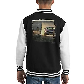 Dodge Truck Distressed Edge Dusty Road Kid's Varsity Jacket