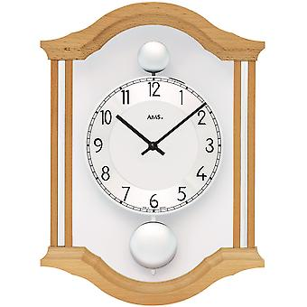 AMS 7447/18 wall clock quartz analog swing double pendulum wooden beech solid with glass