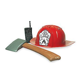 Fire set 3 PCs firefighter helmet axe walkie talkie accessory Carnival