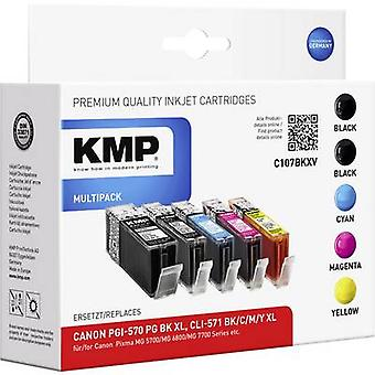 KMP Ink replaced Canon PGI-570 XL, CLI-571 XL Compatible Set Black, Photo black, Cyan, Magenta, Yellow C107BKXV 1569,0050