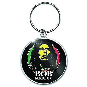 Bob Marley Face Round Heavyweight Metal Keyring