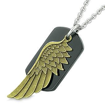 Amulett Schutzengel Flügel magischen Schutz Kräfte Schwarz Achat Tag Anhänger 18-Zoll-Halskette