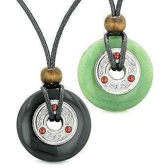 Amulets Large Celtic Triquetra Knot Coins Love Couples Yin Yang Black Agate Green Quartz Necklaces