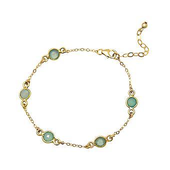 Gemshine - ladies - bracelet - 925 sterling silver - gold plated - Aqua - chalcedony - 18 cm