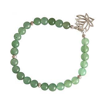 Vrouwen - armband - 925 zilver - lotusbloem - Aventurijn - groen - YOGA