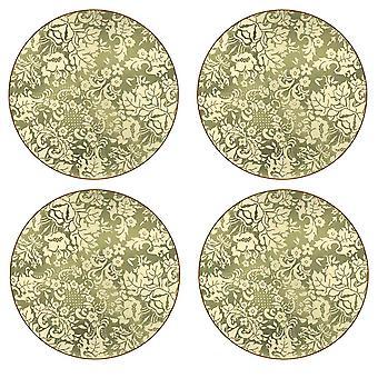 Pimpernel Damask Gold Round Placemats Set of 4