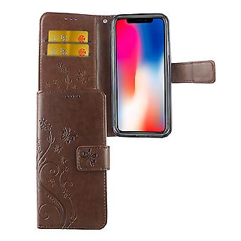 Protective cover flowers for phone Apple iPhone XS coffee
