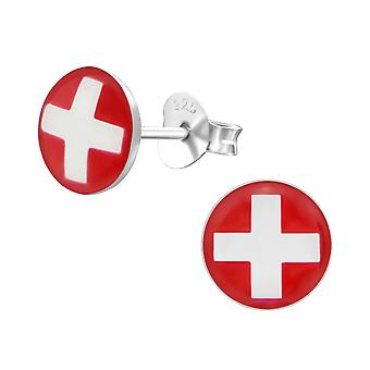 Swiss Flag - 925 Sterling Silver Colourful Ear Studs