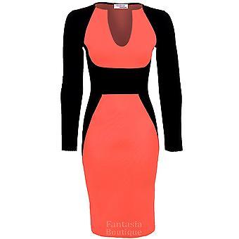 Ladies Long Sleeve V neck Black Contrast Midi Knee Length Womens Bodycon Party Dress