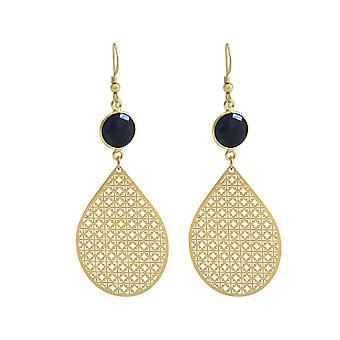 Boucles d'oreilles GEMSHINE pour femmes mandalas saphirs bleus argent, plaqué or ou rose