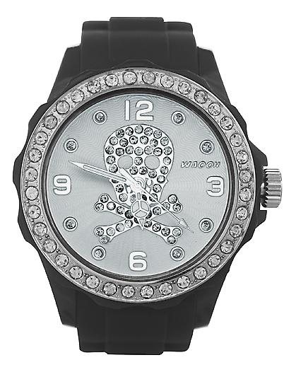 Waooh - FC38 Watch with White Dial Rhinestone Skull 2
