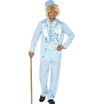 90er Jahre dumm Smoking Kostüm, blau, mit Jacke, Hose, Mock Shirt & Hut