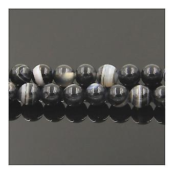 Strand 60+ Black/Grey Banded Agate 6mm Plain Round Beads Y02145