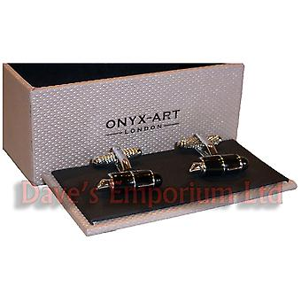 Fountain Pen Cufflinks by Onyx Art - Gift Boxed - Writer Clerk Author Cuff Links