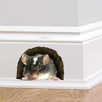 Full Colour Mouse in a Hole Wall Sticker