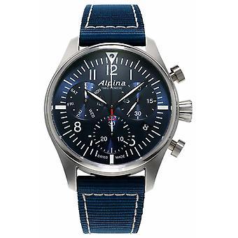 Alpina Startimer Pilot Chronograph Quartz Blue Fabric Strap Men's Watch AL-371NN4S6