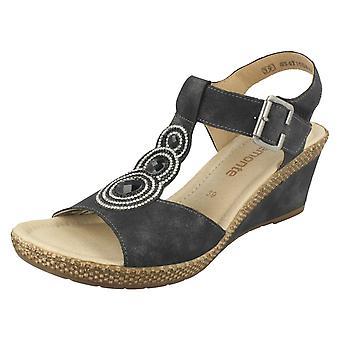 Ladies Remonte t-bøylen kile sandaler D0452
