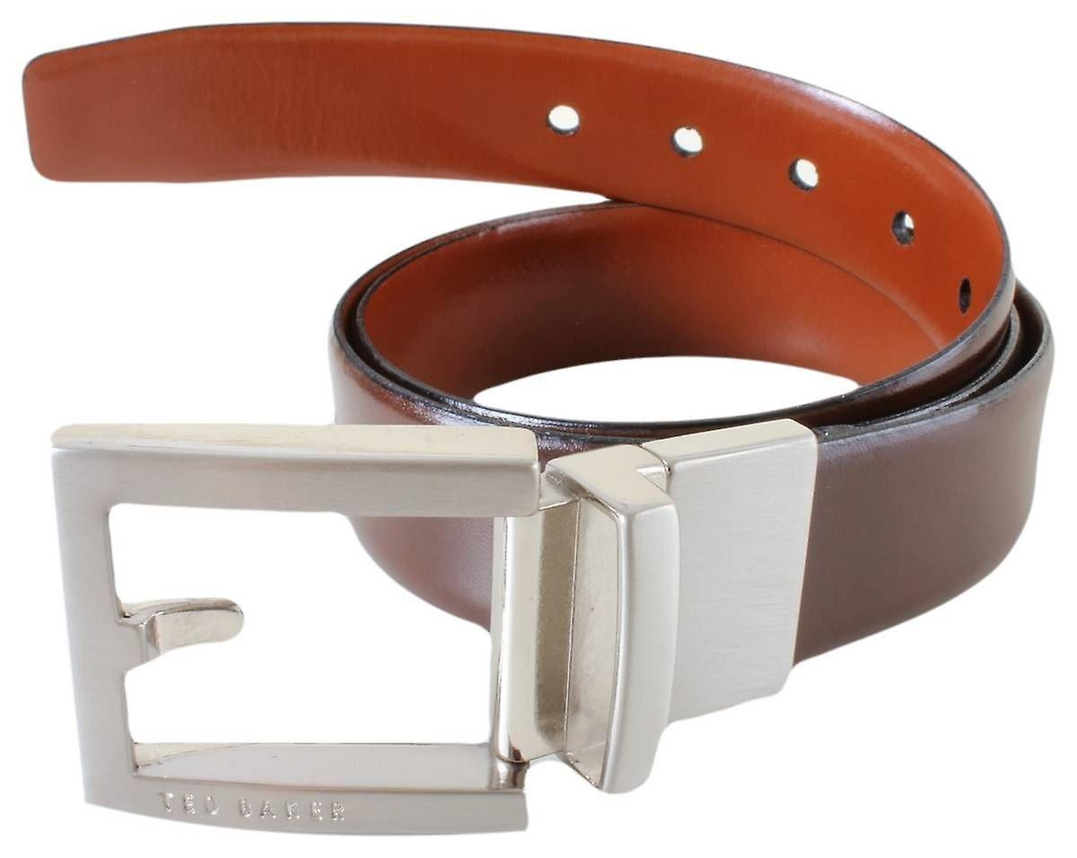 Ted Baker Bronsen Reversible Fixed Prong Belt - Chocolate Tan