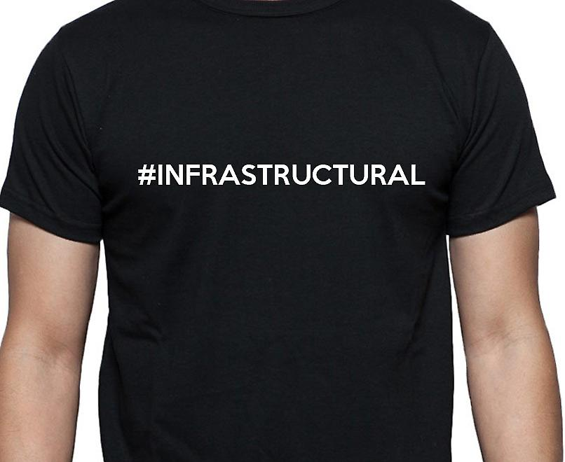 #Infrastructural Hashag Infrastructural Black Hand Printed T shirt