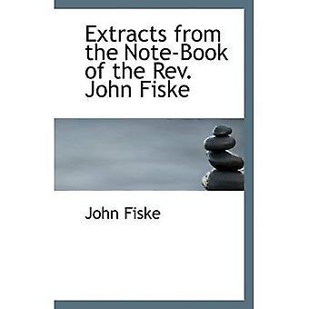 Extractos del libro de nota del Reverendo John Fiske