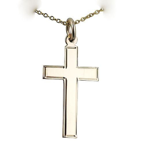 9ct Gold 25x15mm engine turned line border flat latin Cross with a cable Chain 16 inches Only Suitable for Children