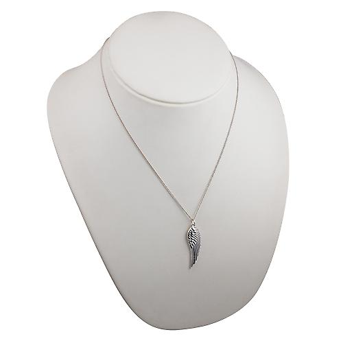 Silver 39x12mm Angel's Wing Pendant with a curb Chain 20 inches