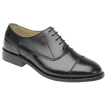 Mens Leather Lace Up Oxford Capped Goodyear Welted Leather Sole Formal Shoes