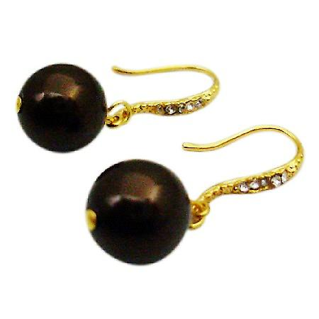 Darkest Chocolate Brown Pearl Wedding Dress Pearl Earrings Jewelry