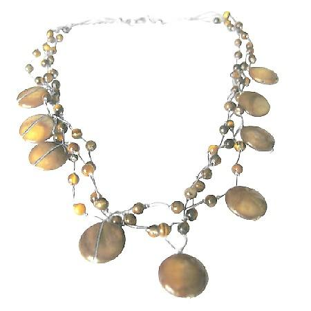 Tiger Eye Bead Necklace Three Strand Silk Brown Shell Wedding Necklace