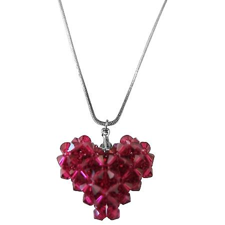 Swarovski Burgundy Crystal 3D Puffy Handcrafted Heart Pendant Necklace