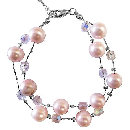 Pink Pearl AB Crystals Immitation Bridesmaid Double Stranded Bracelet