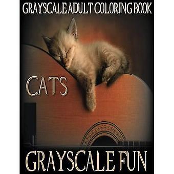 Chats amusants en niveaux de gris: Gris adulte livre à colorier, 8,5 x 11, 20 Images de chats en niveaux de gris