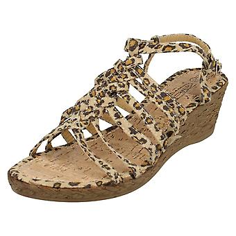 Ladies Spot On Leopard Coloured Wedge Sandals  F10037