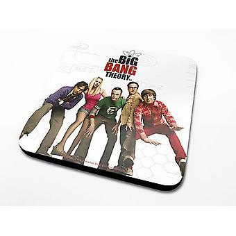 The big bang theory coasters set cast set of 6, printed, white, coated, made of Cork.