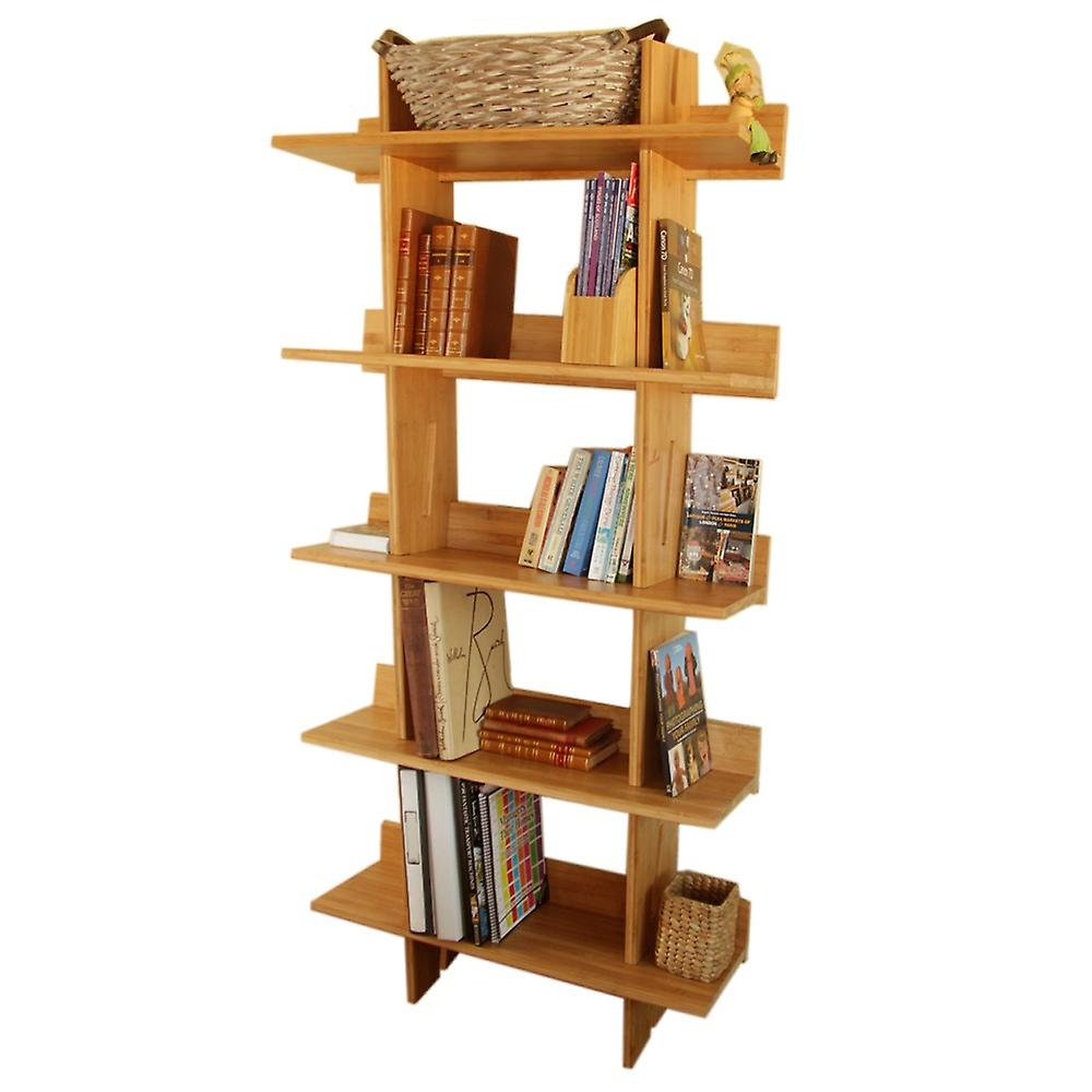 Woodquail Bamboo Tall Office / Living Room Bookcase, 5 Tier Bookshelf, Shelving Unit