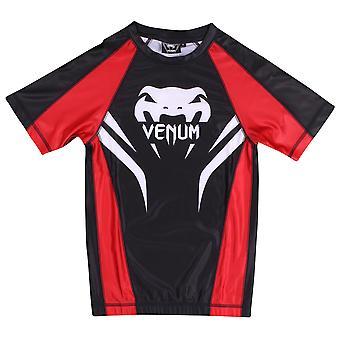 Venum Electron Mens manches courtes Rashguard - noir/rouge