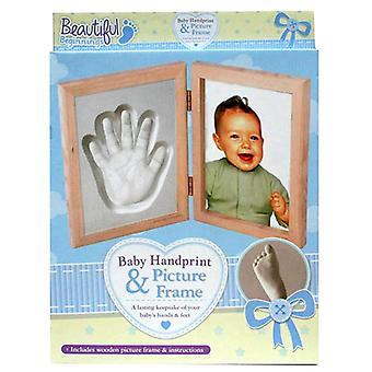 Começos lindo bebê impressão digital e moldura